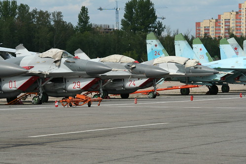 MiG-29 Fulcrums '01 red', '29 red' & '74 red'