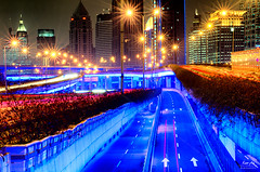 Ramps (Shanghai) (Lao An (PhotonMix)) Tags: china longexposure blue urban lines modern night stars lights nikon neon cityscape skyscrapers transport illumination artificial ramps led processing intersection lighttrails connected d800 flowerpots huangpu elevatedhighway highwayramps photonmix laoanphotography cityhighwayshanghai
