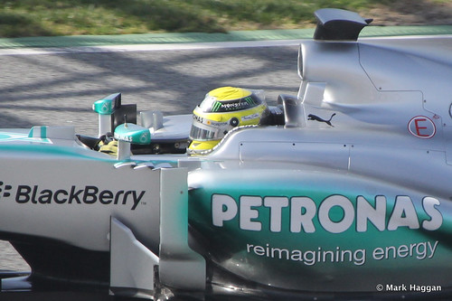 Nico Rosberg in his Mercedes at Formula One Winter Testing 2013