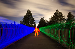 Out For A Walk (SimplyAmy74) Tags: longexposure nightphotography lightpainting clouds lights northwest fireman nightsky longshutter glowsticks spokaneriver northidaho centennialtrail