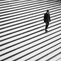 Get In Line (petertandlund) Tags: city people urban blackandwhite bw man blancoynegro monochrome lines stairs square sweden stockholm streetphotography documentary sergelstorg sthlm bnw blackdiamond norrmalm peopleinmotion xe1 flickraward5