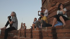 capturing the sunset from atop a temple