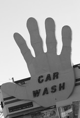 Hi Five (KaDeWeGirl) Tags: newyorkcity bw car sign hand guesswherenyc h wash nycguessed hifive nyca2z robertbaroneguessed