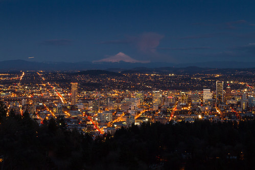 Portland Night with Mount Hood View