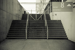 Entrance #8 (DavidAndersson) Tags: monochrome stairs gteborg concrete gothenburg 7 8 arrows entre enter ullevi tamron18200f3563