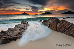 Shoal Bay Port Stephens (Kiall Frost) Tags: blue red sky orange sun white color colour water clouds sunrise flow bay sand nikon australia nsw portstephens headland shoalbay tomaree kiallfrost d800e