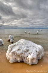 Ice Caps ... (Ken Scott) Tags: winter usa march michigan lakemichigan greatlakes hdr freshwater voted leelanau goodharborbay 2013 sbdnl sleepingbeardunenationallakeshore mostbeautifulplaceinamerica icecappedpilings