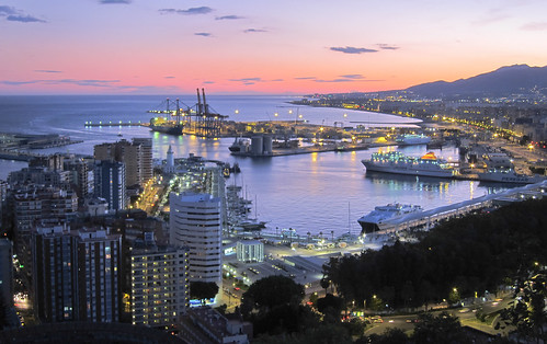 Málaga at night.