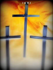 Good Friday (Patricia Speck) Tags: light shadow worship christian inri jesusisalive threecrosses portraitformat helives goodfriday2013 weservearisensaviour