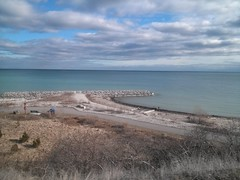 Serenity (Sooks416) Tags: city blue sky urban lake toronto ontario canada beach nature water clouds train rouge rocks view natural reaching stones jetty south go peaceful rail railway east transportation transit serenity end scarborough serene far tdot nofilter lpbeyond
