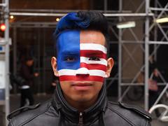 enrique flores (killthebird) Tags: nyc blue red people white ny art nycpb america flag patriot unionsquare usq em5