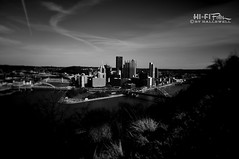 Golden Triangle Noir (Hi-Fi Fotos) Tags: pittsburgh steel city noir skyline urban golden triangle point park monongahela allegheny ohio river three rivers bridges downtown pennsylvania sky bw mono blackandwhite nikon d5000 hififotos hallewell