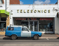 Ascot Vale (Westographer) Tags: ascotvale melbourne australia westernsuburbs suburbia streetscape parked panelvan signage typography fordescort oldschool telesonics