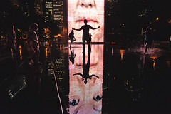 Chaotic Good (JasonCameron) Tags: chicago illinois crown fountain people kids fun play splash reflection face silhouette night light life city cityscape scape
