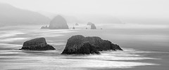 (Appalachian Hiker) Tags: cannonbeach fog oregon pacificnorthwest ocean coast mist bw blackandwhite moody