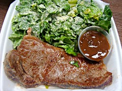 Steak with Red Wine Jus and Caesar (knightbefore_99) Tags: food work tasty takeaway lunch vancouver takeout steak salad caesar rare bleu chez mm baguette bistro burnaby heights red wine jus shallots