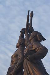 juche sunset: hammer, sickle, paintbrush (diminoc) Tags: northkorea pyongyang dprk communism communist juche ideology statue propaganda sculpture kitsch