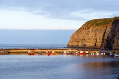 Staithes Revisited (andythomas390) Tags: staithes northyorkshire coast blue boats cliff sea harbour nikon d7000