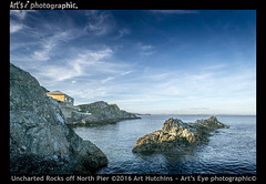 Uncharted Rocks off North Pier (Art's Eye photographic) Tags: coast seascape cornishcoast britishcoast calmwaters rockycoastline islet mevagisseybay blackhead maritime marine tidalzone cirrus
