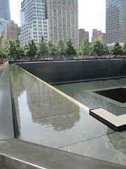World Trade Center Memorial Fountains 2016 NYC 4365 (Brechtbug) Tags: memorial fountain lower manhattan 2016 nyc footprint world trade center wtc ground zero september 11 2001 downtown 911 new york city 2011 fdny public monument art fountains 08272016 foot print freedom tower today west skyscraper building buildings towers reflection pool water falls waterfalls wall walls pools tier tiered 15 years fifteen five