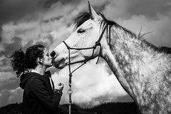 The Bond (Ilia Alexanderson) Tags: horse rider riding equestrian sky portrait kiss together unity love summer skyscape clouds spotted grey dapple gray bw blackandwhite