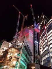2016-08-26: Late Works (psyxjaw) Tags: london londonist cityoflondon construction site city lloyds building crames night light beacon scapel