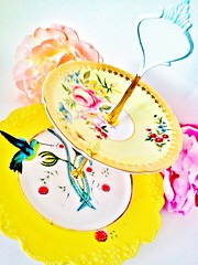 Le Petit Pretties Presents: The Lela Vintage China Dessert Tea Stand (Haute High Tea) Tags: wedding party english floral yellow cake fauna garden cakestand hummingbird display plate housewares cupcake etsy anthropologie centerpiece porcelain serving marieantoinette madhatter saucer teaparty whimsical aliceinwonderland tableware paragon hightea teastand shabbychic tidbit vintagechina cottagechic dessertbar tabledcor dessertstand platetier lepetitpretties