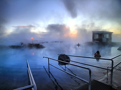 Soaking in the Lake Mývatn Nature Baths, Iceland (` Toshio ') Tags: blue winter sunset people woman sun lake snow hot cold ice nature water pool person iceland bath europe european natural shed freezing rail fresh steam springs baths bathing hotsprings toshio mývatn lakemyvatn icleand jarðböðin