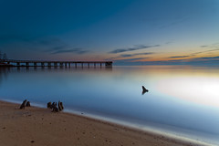 mini henge (dK.i photography) Tags: longexposure morning sky beach water night sunrise dawn pier glow smooth maryland clear pasadena formations chesapeakebay henge downspark canon5dmkii singhrayrgnd ef1740f40lusm