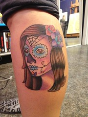 Day Of The Dead Halloween Flash Tattooed By Wes Fortier