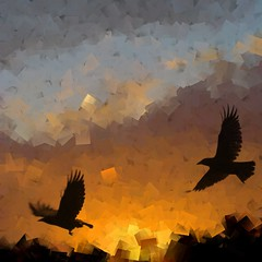 touched (in the head). (Photomaginarium) Tags: photomanipulation sunrise canon flight gimp powershot layers crows photoart textured odc touchedinthehead justatouch sx30 ourdailychallenge odc3 geekbehindthecurtain photomaginarium digitalagerecessionerafolkart