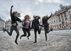 "Somerset House and the girls 'jump for joy"" (Time to try) Tags: uk london jumping nikon fisheye somersethouse nikkor jumpforjoy nikkor16mm timetotry copyrightbrucehammersley2013"