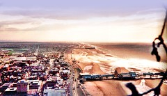 Blackpool and its two piers from the top of the Tower (**Hazel**) Tags: tower beach top piers hazel hdr blackool photoscape