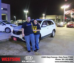 Congratulations to HOMERO MICHAEL GONZALEZ on the 2012 KIA SORENTO (Westside KIA) Tags: new michael texas katy houston westside kia gonzalez homero dealership 2012 dealer customers sorento 24336 httpavximagesdeliverymaxxcomwsjl24336jpg