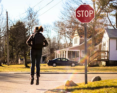 47/365 (KatieMackPhotography) Tags: road street girl flying floating levitation nostalgia stop backpack 365 katiemackphotography