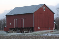 Bank Barn (beccafromportland) Tags: red barn indiana redbarn berneindiana adamscountyindiana bankbarn