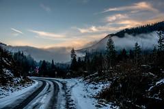 mistymountains (geoffreydoor) Tags: road sky mist mountain colors fog trail cascades stevenspass