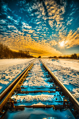 Winter Tracks 9325 (IanDMcGregor) Tags: winter sun snow canada train ian nikon day tracks rail railway sunburst rays saskatchewan hdr d800 mcgregor rokeby