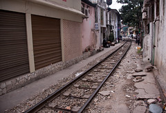 Train Tracks Through Hanoi - Vietnam (ChrisGoldNY) Tags: city travel urban canon poster asian vanishingpoint asia southeastasia vietnamese forsale cement traintracks tracks vietnam viet viajes posters albumcover lonelyplanet bookcover hanoi bookcovers crumbling albumcovers indochina vn gridskipper northvietnam jaunted chrisgoldny chrisgoldberg chrisgold chrisgoldphoto chrisgoldphotos
