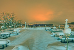 The Empty Terrace (Daniel J. Mueller) Tags: schnee trees snow fog forest schweiz switzerland nebel terrace terrasse tables wald bume hdr tische d4 kappel kantonzrich 5xp cantonofzurich kappelamalbis klosterkappel