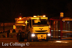 Leeds Gritter (Yorkshire Pics) Tags: winter ice weather truck lights transport leeds busstop transportation highways icy snowplough westyorkshire afterdark icey gritting gritter highwaysagency