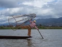 (Magic Pea) Tags: sky lake net water clouds photography photo fishing fisherman angle burma leg streetphotography myanmar inlelake rightangle lakeinle magicpea