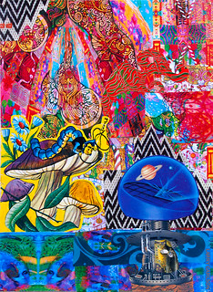 LARRY CARLSON, Les Champignons Machines, collage on paper, 14x11in., 2013.
