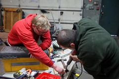 Mike and Elvis working on motor modifications