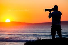 Photographer at sunrise, Eyre Peninsula - South Australia (Robert Lang Photography) Tags: ocean sun color colour silhouette sunrise photography photographer stock australia sa southaustralia oneperson lincolnnationalpark eyrepeninsula