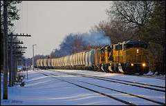 LTS74, UP 2268 Adams West End (Philip_Martin) Tags: snow wisconsin yard code sand adams smoke line local backlit job wi sd60m 2480 2070 2268 gp60 lts74