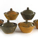310. Group of Six Accidental Glaze Jugtown Covered Bowls