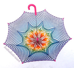 Crochet Umbrella - Rainbow Ombre Leaves Doily Motif With Star Crochet Embroidery (babukatorium) Tags: pink blue wedding red summer orange color green art thread fashion rose yellow umbrella star bride rainbow triangle colorful purple recycled handmade lace turquoise teal burgundy oneofakind pastel crochet moda violet style mandala shades ombre parasol shade gradient hippie bridal psychedelic embellished bohemian doily multicolor octagon whimsical sposa renew ombrello darkblue accessory haken parasole häkeln emeraldgreen crochê ganchillo babypink royalblue fuxia upcycled uncinetto handdecorated fattoamano かぎ針編み tığişi horgolt babukatorium