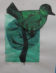 Birds, Trees, Prints and Stencils (maureencrosbie) Tags: trees birds prints isla childrensart collagraph stencilprint