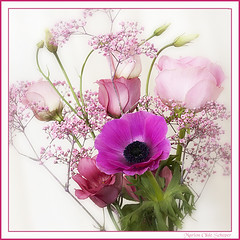 Flower bouquet (Omasjon) Tags: pink flowers light green nature rose canon petals flora purple feathers nederland roos anemone single multicolors bloem lisianthus anemoon rememberthatmomentlevel4 rememberthatmomentlevel1 rememberthatmomentlevel2 rememberthatmomentlevel3